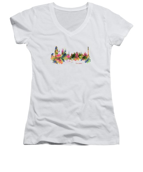 Barcelona Watercolor Skyline Women's V-Neck T-Shirt (Junior Cut) by Marian Voicu