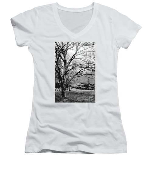 Bare Tree On Walking Path Bw Women's V-Neck T-Shirt