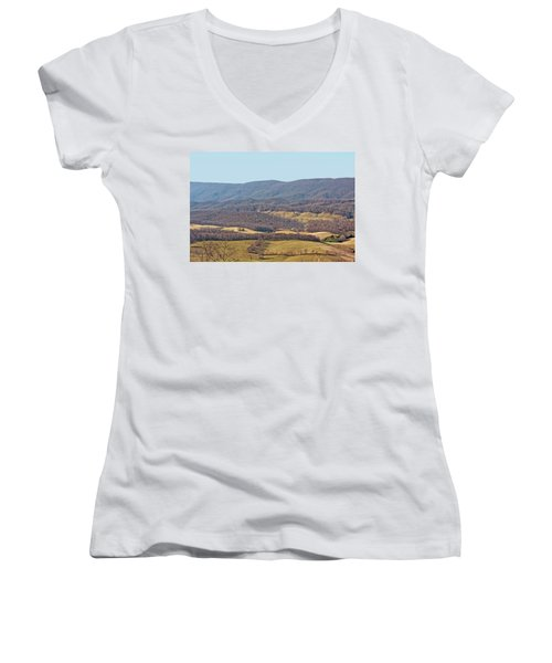Women's V-Neck T-Shirt (Junior Cut) featuring the photograph Bare Winter by Denise Romano