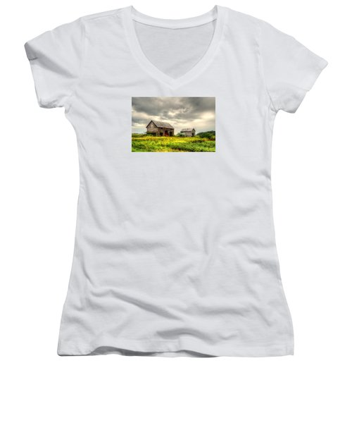 Barn And Sky Women's V-Neck (Athletic Fit)