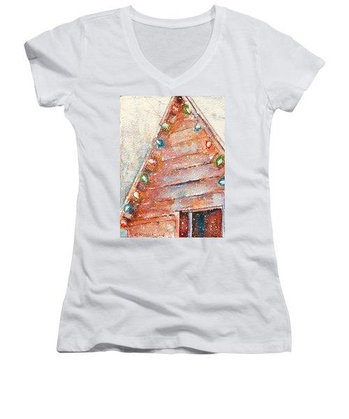 Barn In Snow Women's V-Neck (Athletic Fit)