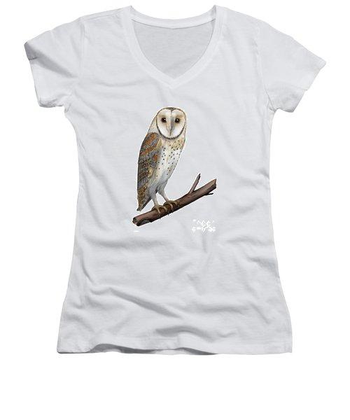 Barn Owl Screech Owl Tyto Alba - Effraie Des Clochers- Lechuza Comun- Tornuggla - Nationalpark Eifel Women's V-Neck