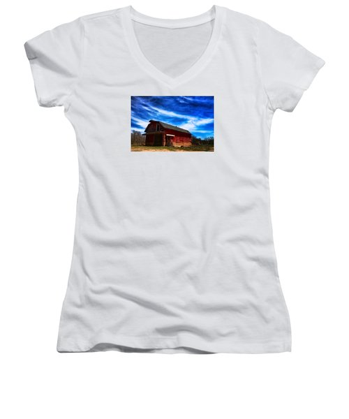 Women's V-Neck T-Shirt (Junior Cut) featuring the photograph Barn Under Blue Sky by Toni Hopper