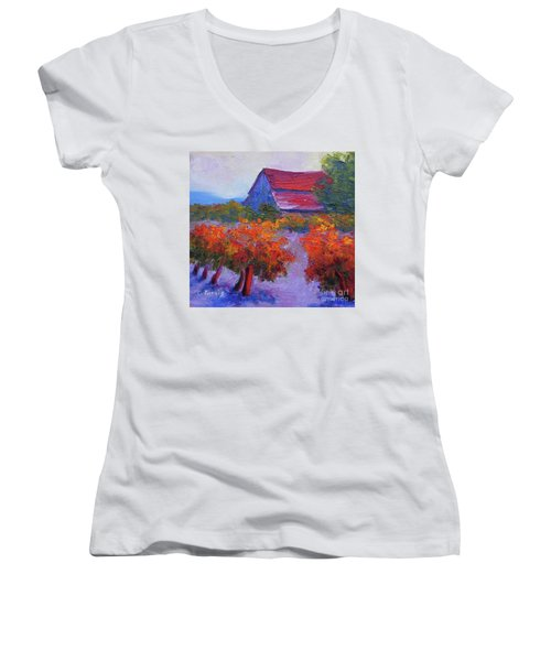 Barn Vineyard Autumn Women's V-Neck