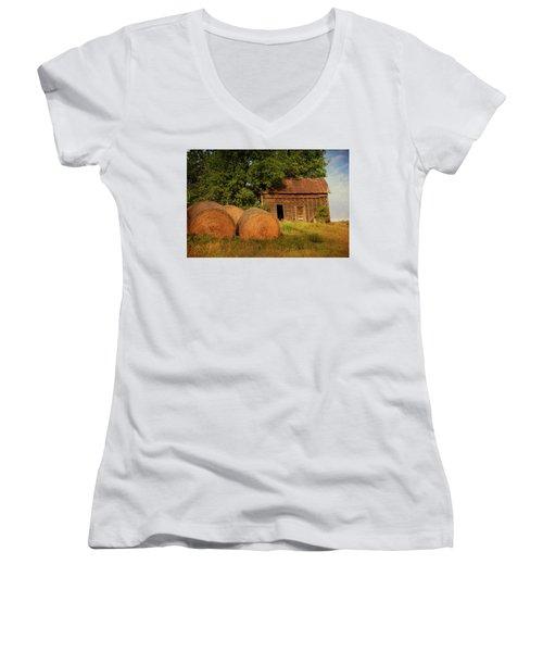 Barn With Haybales Women's V-Neck (Athletic Fit)