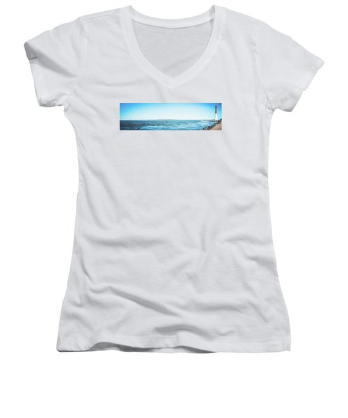 Women's V-Neck T-Shirt (Junior Cut) featuring the photograph Barnegat Light Panorama by Colleen Kammerer