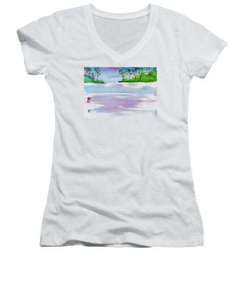 Gum Trees Frame The Sunset At Barnes Bay Women's V-Neck