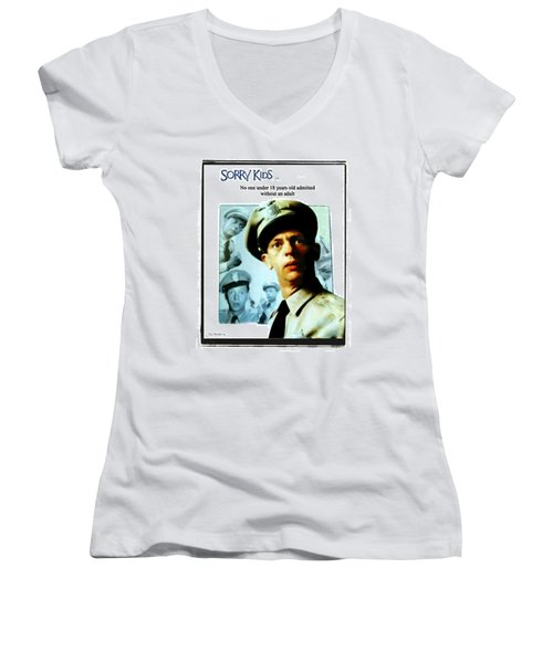 Barney Poster Women's V-Neck T-Shirt (Junior Cut) by Joan  Minchak