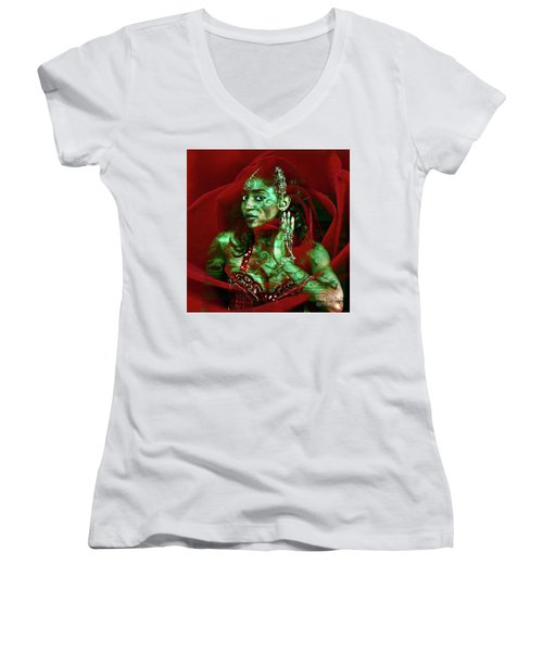 Baroque Meets Oriental Rose Women's V-Neck