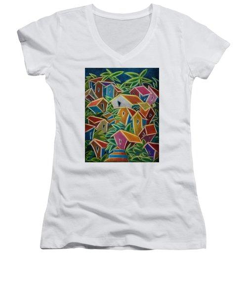 Barrio Lindo Women's V-Neck T-Shirt (Junior Cut) by Oscar Ortiz
