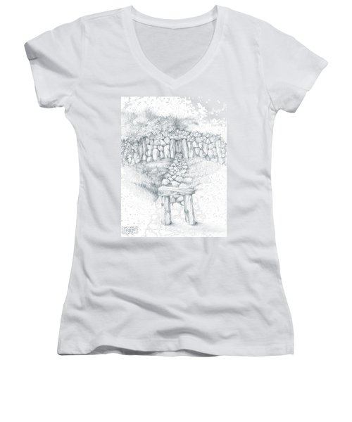 Women's V-Neck T-Shirt (Junior Cut) featuring the drawing Barrow Tomb by Curtiss Shaffer