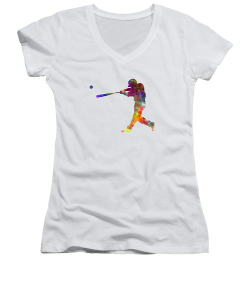 Baseball Player Hitting A Ball 02 Women's V-Neck T-Shirt (Junior Cut) by Pablo Romero