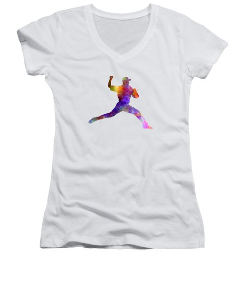 Baseball Player Throwing A Ball 01 Women's V-Neck (Athletic Fit)