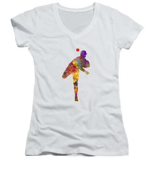 Baseball Player Throwing A Ball Women's V-Neck T-Shirt (Junior Cut) by Pablo Romero