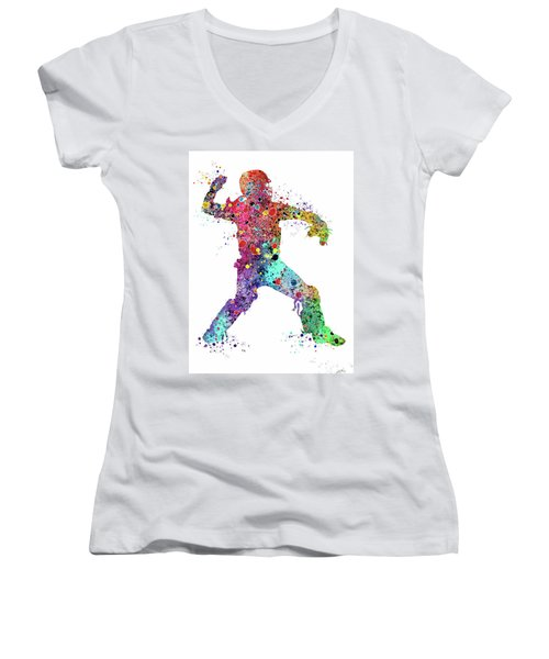 Baseball Softball Catcher 3 Watercolor Print Women's V-Neck (Athletic Fit)