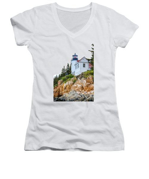 Bass Harbor Head Lighthouse 1 Women's V-Neck (Athletic Fit)