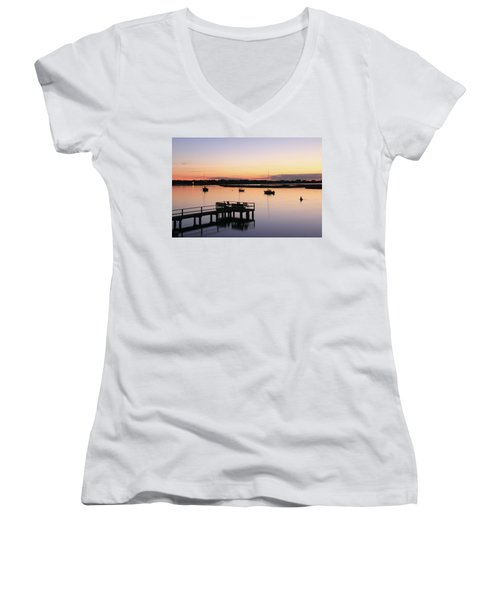 Bass River Before Sunrise Women's V-Neck T-Shirt (Junior Cut) by Roupen  Baker