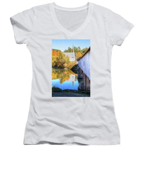 Bath Covered Bridge Women's V-Neck T-Shirt