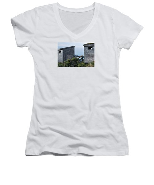 Bath Houses At Nobska Beach Women's V-Neck (Athletic Fit)