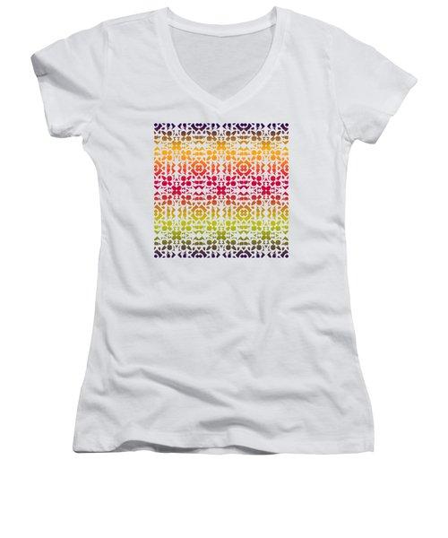 Batik Rustic Rainbow 200 - White Women's V-Neck