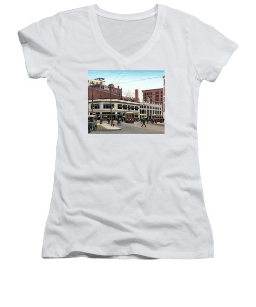 Women's V-Neck T-Shirt (Junior Cut) featuring the painting Bay And Queen Streets C1940 by Kenneth M Kirsch
