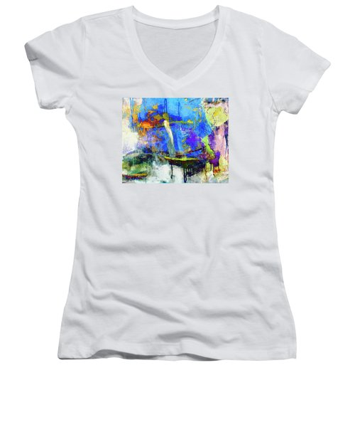 Women's V-Neck T-Shirt (Junior Cut) featuring the painting Bayou Teche by Dominic Piperata