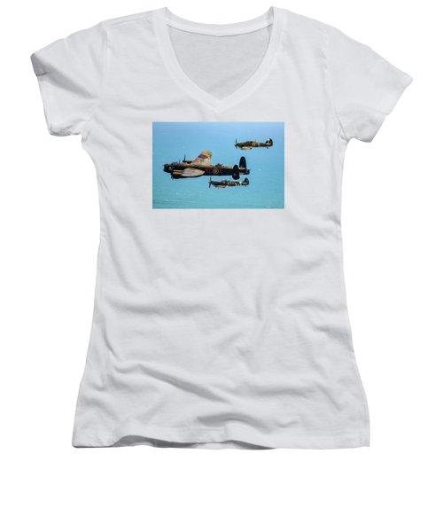 Bbmf Eastbourne Beachy Head Flypast Women's V-Neck T-Shirt (Junior Cut) by Ken Brannen