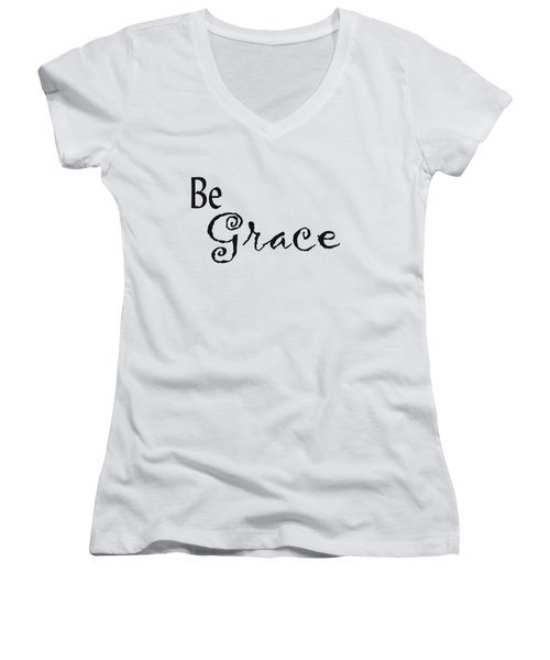 Be Grace Women's V-Neck T-Shirt (Junior Cut) by Kerri Mortenson