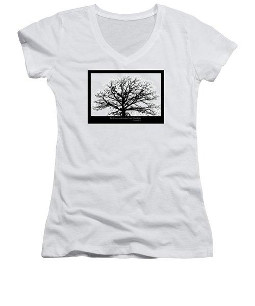 Be Still Tree Women's V-Neck (Athletic Fit)