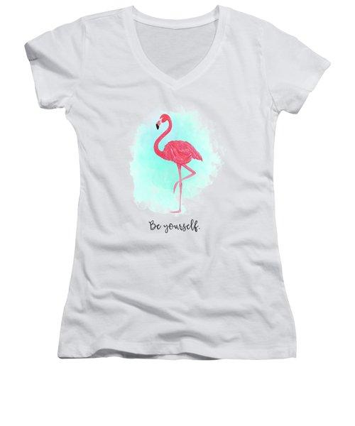 Be Yourself Flamingo Print Women's V-Neck T-Shirt