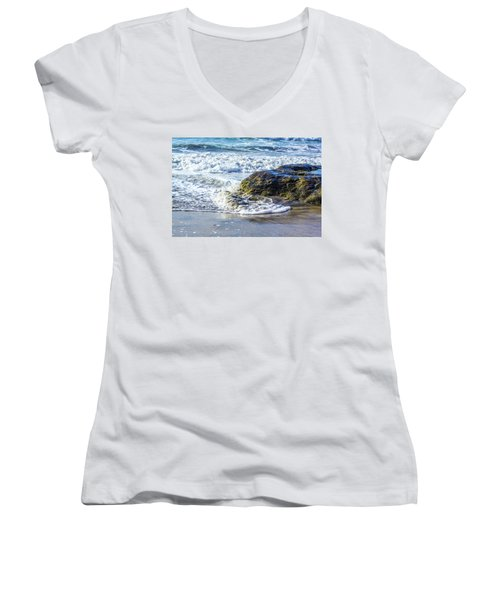 Wave Around A Rock Women's V-Neck (Athletic Fit)