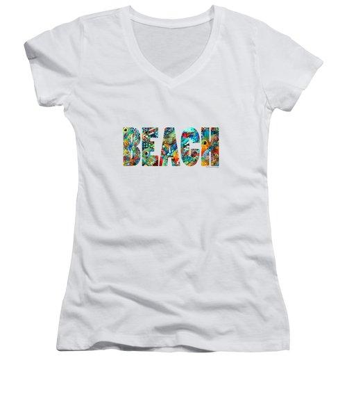 Women's V-Neck T-Shirt (Junior Cut) featuring the painting Beach Art - Beachy Keen - By Sharon Cummings by Sharon Cummings
