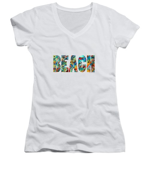 Beach Art - Beachy Keen - By Sharon Cummings Women's V-Neck (Athletic Fit)
