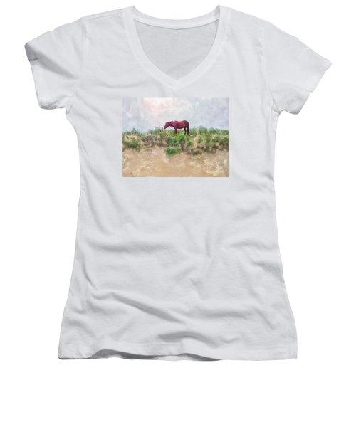 Women's V-Neck T-Shirt (Junior Cut) featuring the digital art Beach Boy by Lois Bryan