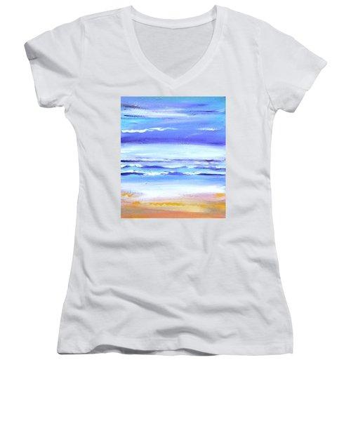 Beach Dawn Women's V-Neck T-Shirt (Junior Cut) by Winsome Gunning