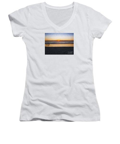 Beach Family  ... Women's V-Neck T-Shirt (Junior Cut) by Chuck Caramella