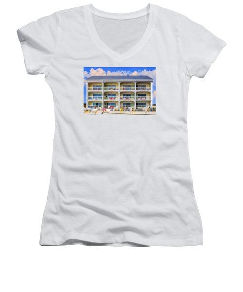 Beach Front Hotel Women's V-Neck T-Shirt (Junior Cut) by Robert FERD Frank