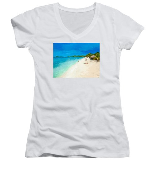 Beach Holiday  Women's V-Neck T-Shirt (Junior Cut) by Anthony Fishburne