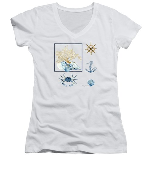 Beach House Nautical Seashells Ships Wheel Anchor N Crab Women's V-Neck T-Shirt (Junior Cut) by Audrey Jeanne Roberts