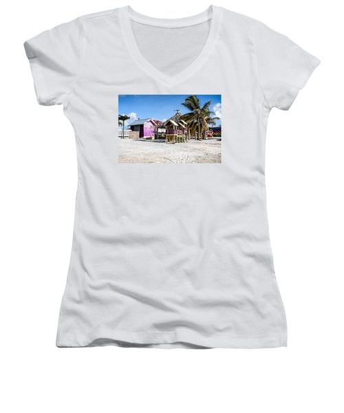 Women's V-Neck T-Shirt (Junior Cut) featuring the photograph Beach Huts by Lawrence Burry