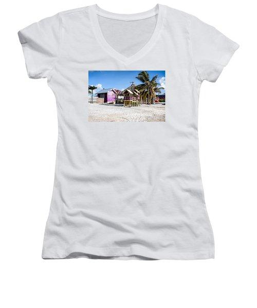 Beach Huts Women's V-Neck T-Shirt (Junior Cut) by Lawrence Burry
