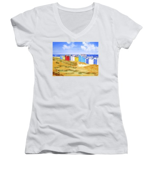 Beach Huts Women's V-Neck (Athletic Fit)