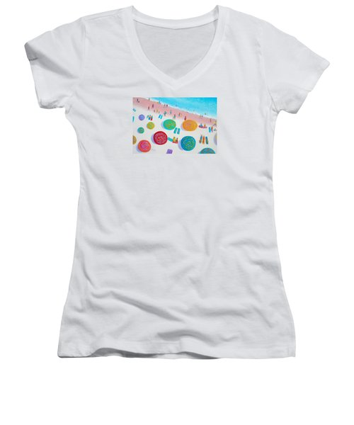 Beach Painting - A Walk In The Sun Women's V-Neck