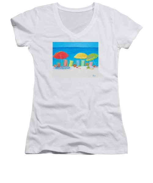 Beach Painting - Deck Chairs Women's V-Neck T-Shirt