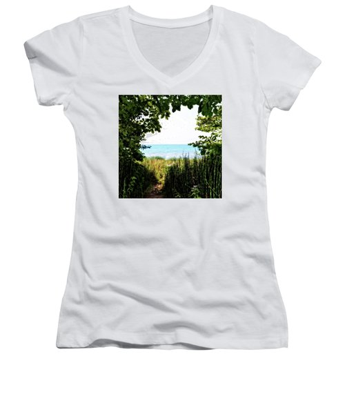 Women's V-Neck T-Shirt featuring the photograph Beach Path With Snake Grass by Michelle Calkins