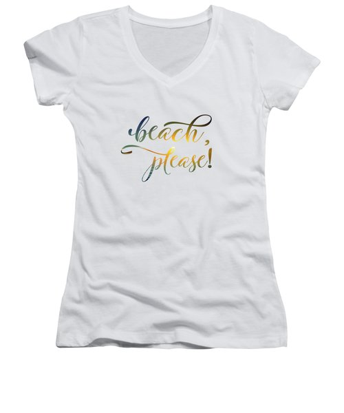 Beach Please Women's V-Neck (Athletic Fit)