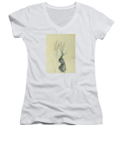 Beach Sand 3 Women's V-Neck T-Shirt (Junior Cut) by Marcia Lee Jones