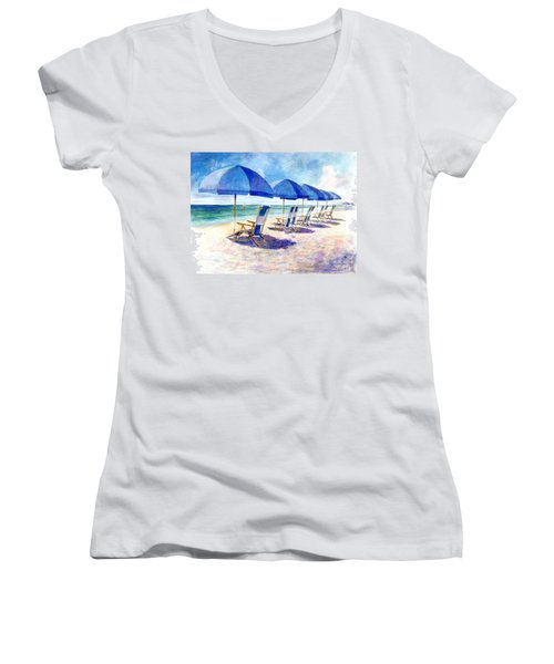Women's V-Neck featuring the painting Beach Umbrellas by Andrew King