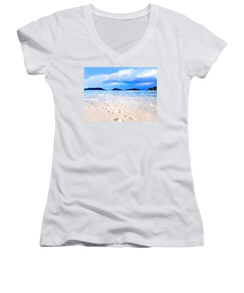 Women's V-Neck T-Shirt (Junior Cut) featuring the digital art Beach Walk by Anthony Fishburne