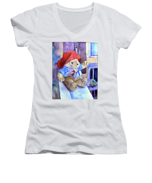 Bear In Venice Women's V-Neck